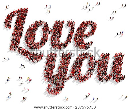 "Group of people dressed in red shaping the text ""Love you"", on a white background - stock photo"