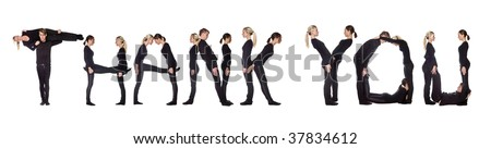 Group of people forming the phrase 'Thank you', isolated on white background. - stock photo
