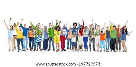 Group of People Hands Raising - stock photo