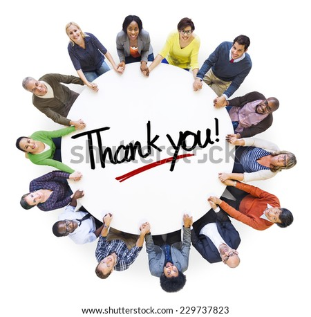 Group of People Holding Hands Around Letter Thank you - stock photo
