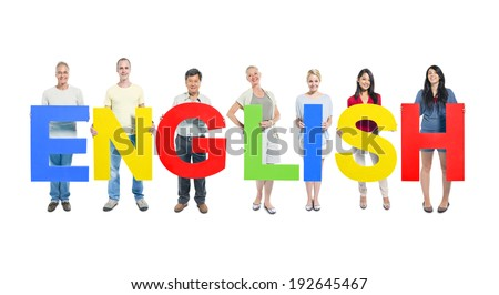 Group of people holding the word english - stock photo