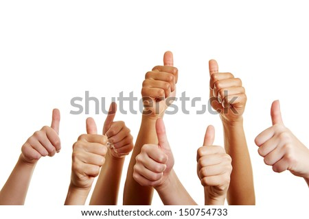 Group of people holds many thumbs up and congratulates the winner - stock photo