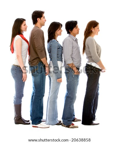 group of people in a queue isolated over a white background - stock photo