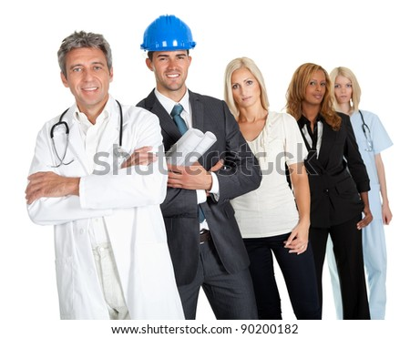 Group of people in different professions standing isolated against white background - stock photo