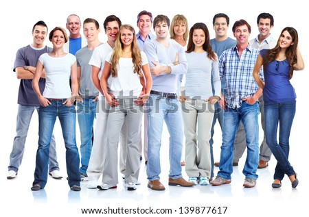 Group of people. Isolated on white background. - stock photo