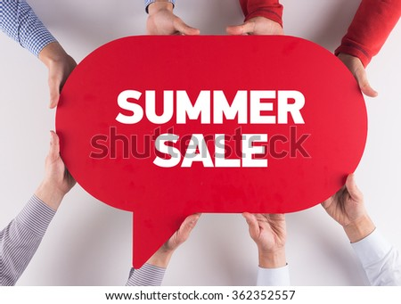 Group of People Message Talking Communication SUMMER SALE Concept - stock photo
