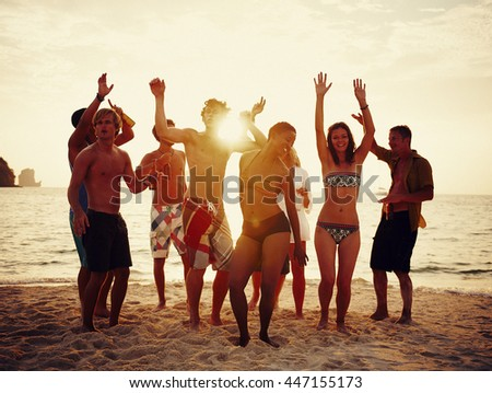 Group of people party on the beach Concept - stock photo