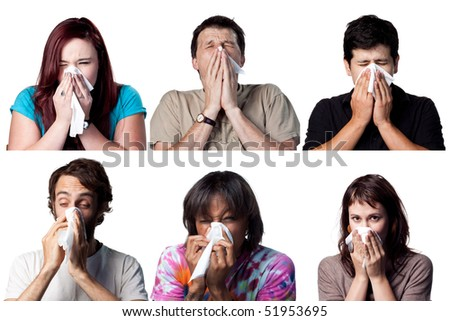 Group of people sneezing using a tissue paper - stock photo