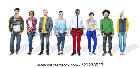 Group of People Standing in a Row - stock photo