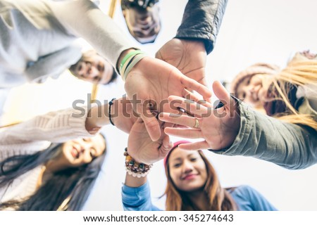 Group of people supporting each others. Concept about team work and friendship - stock photo
