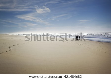 Group of people talking on the beach in France - stock photo