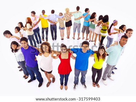 Group of People Teamwork Holding Hand Connection Concept - stock photo