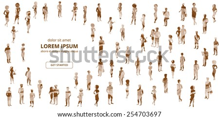 Group of people textured silhouettes on white background. - stock photo