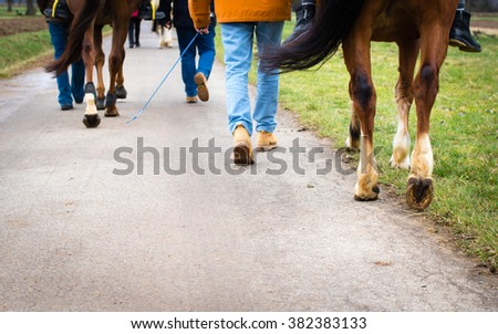 Group of people walking with horses on a road, leg's shot, selective focus - stock photo