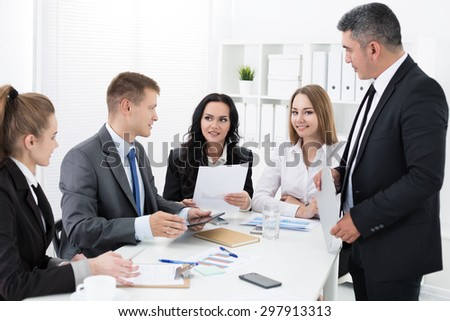 Group of people working in office. Office life concept - stock photo