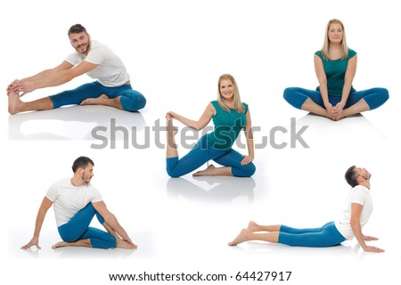 Group of photos of  active man and woman doing yoga fitness poses. isolated on white background - stock photo