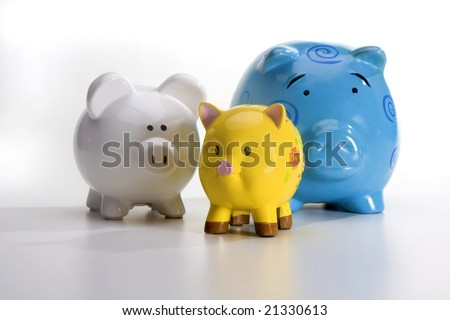 Group of Piggy Banks - stock photo