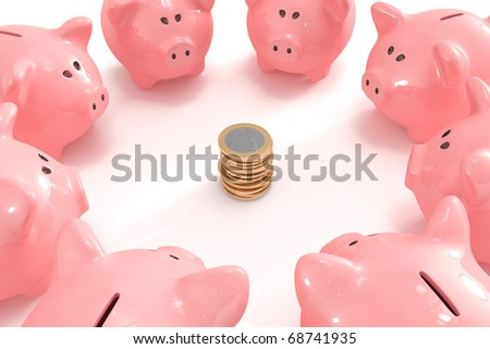 Group of piggy banks looking at a pile of coins in the middle - stock photo