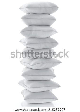 Group of pillows isolated on white background - stock photo