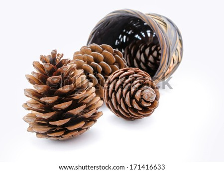 Group of pine cones and wicker basket isolated  - stock photo