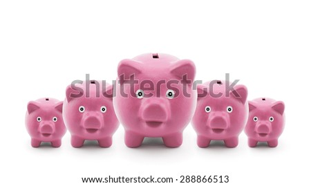Group of pink piggy banks  - stock photo