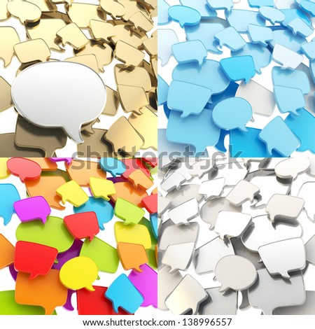 Group of plastic speech text bubbles randomly placed as abstract copyspace business communication background, set of four - stock photo