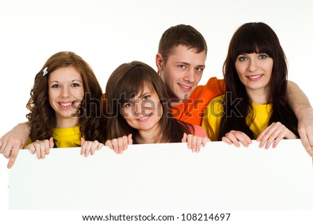 Group of pleasant young people had a great time with each other - stock photo