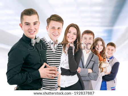 Group of positive young people  - stock photo