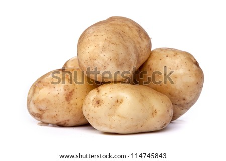 Group of potatoes isolated on a white background - stock photo