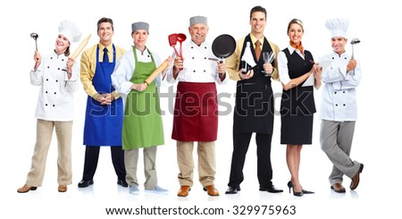 Group of professional chefs isolated on white background. - stock photo