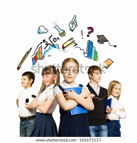 Group of pupils holding items. Education and travel concept - stock photo