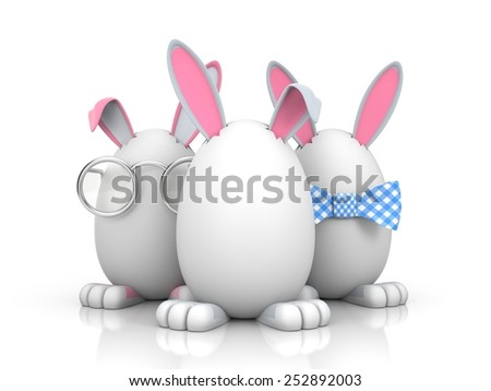 Group of rabbits in the eggs - stock photo