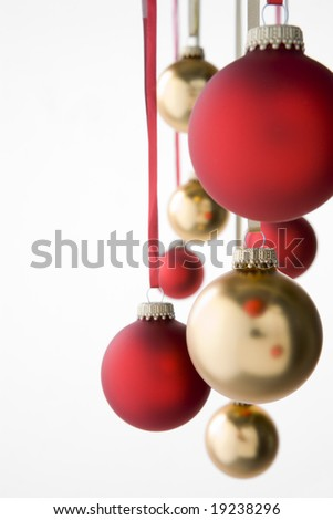 Group Of Red And Gold Christmas Decorations - stock photo