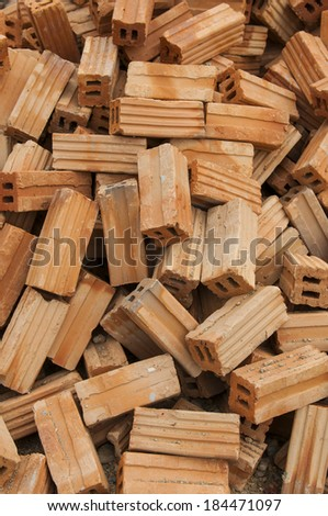 group of red bricks on construction site - stock photo