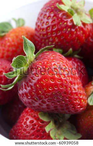 Group of red strawberries - stock photo