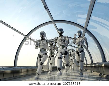 Group of robots running along the corridor. - stock photo