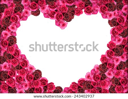 Group of Rose hearth frame isolated over white - stock photo