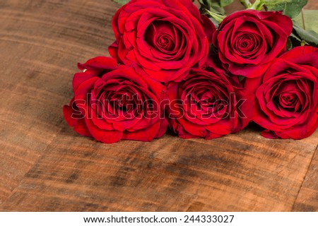 Group of roses in corner with room for text - stock photo