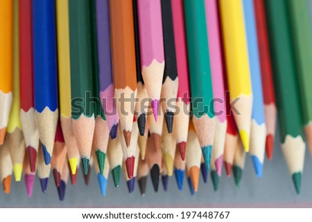 Group of sharp colored pencils with reflexions  - stock photo