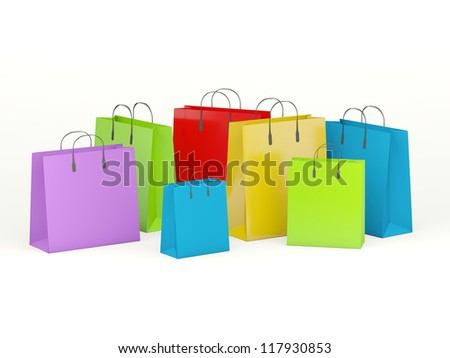 Group of shopping bags isolated on white - stock photo