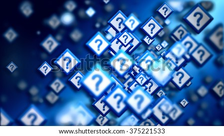 Group of signs with question marks on a blue backdrop, as a concept of questions of the choice from the internet community in cyberspace. Abstract futuristic horizontal background. - stock photo