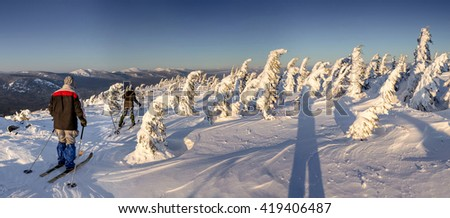 Group of skiers hiking with a backpack in winter mountains and forest - stock photo