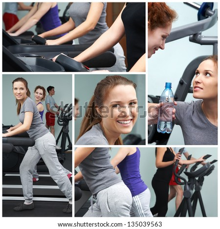 Group of slim women exercising on sport machines - stock photo