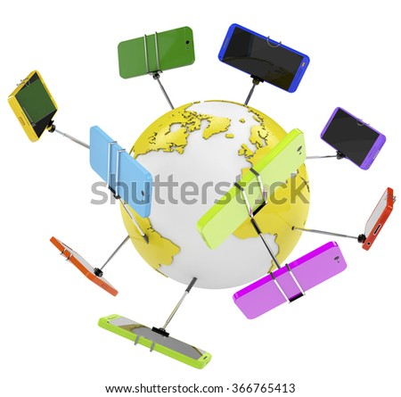 group of Smartphone on a selfie stick i wold, concept. - stock photo