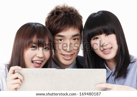 Group of smile young business people with laptop,  - stock photo