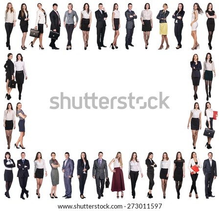 Group of smiling business people. Business team frame - stock photo