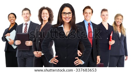 Group of smiling business people isolated on white background - stock photo