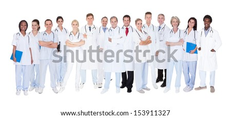 Group Of Smiling Doctors With Stethoscopes Over White Background - stock photo
