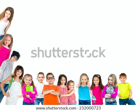 Group of smiling kids on white background - stock photo