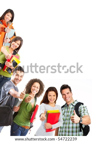 group of smiling  students. Isolated over white background - stock photo